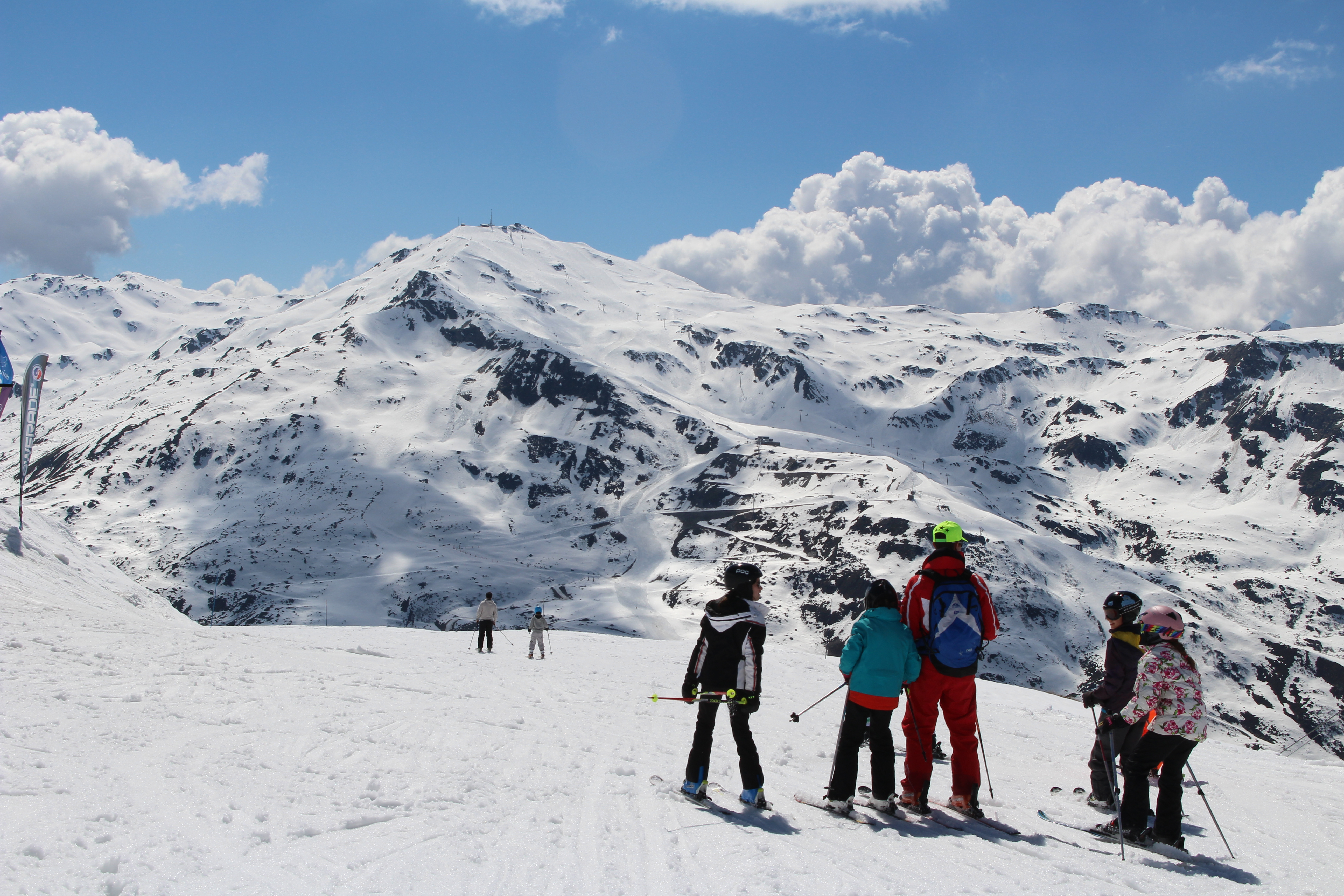 Friends skiing in France