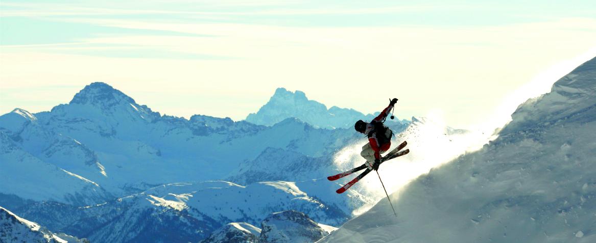 Skier on mountain at Serre Chevalier