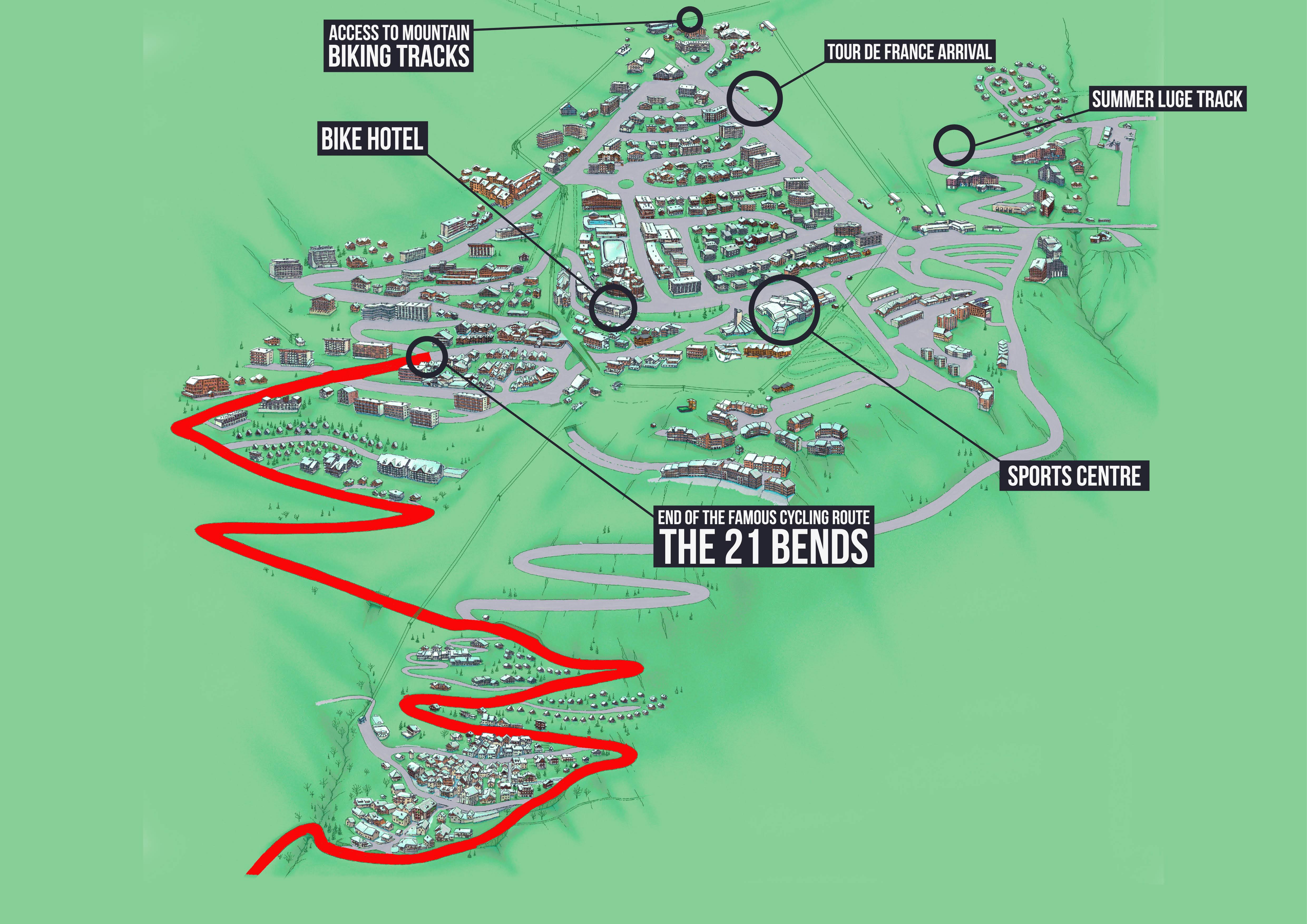 Tour de France map - SkiBound holidays Alpe d'Huez Bike Resort hotel